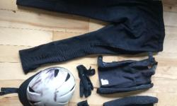 black size 26 TuffRider pants regular length, XS black chaps, black XS riding gloves and the helmet is a dakota and beige colour it is size medium. Asking $150 for all but will negotiate for individual items.