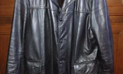 """**Check out my huge selection of vintage items and collectibles!** Click """"View seller's list"""" in the user profile section of this ad. ----------- Price firm From Sears """"The Men's Store"""" 83% off retail ($600) Soft, supple, black leather Would fit a tall"""