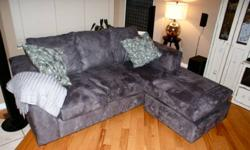 Like new gray 3 seater Microfiber couch [NO tear, pull or stains] - Extremely soft fabric - The material repels liquids and consequently is difficult to stain - This custom made Corner couch can be used either on the right or left, any set up that you may