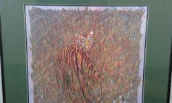 """Professionally framed and matted limited edition print """"Tyger Burning"""" by multi award winning artist Nella K Rogers. Numbered 34/300, this print is signed and numbered by the artist. 251/2 by 241/2"""