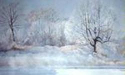 """Yvette H. Miller: """"Winters Magic"""" - Watercolor Print   Signed Limited Edition #8 of 450 32"""" x 25"""" unframed   small tear out of the top left corner white border.  Not in the print itself.  OBO   Ad will be removed when item is sold   PLEASE CHECK OUT MY"""