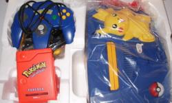 Still in great working condition (with expansion pack) and has cables required to play  with 2 grey controllers, 1 black and the original limited edition pokemon controlller ( blueand yellow) with only a minor bit of damage to the plastic cord cover but