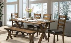 """Beautiful """"Live Edge Design"""" dining set made with solid hardwood. Various combinations available. Large dining table (71"""" X 35"""") with 4 chairs and bench, or dining table with 6 chairs for $1299. Dining table priced separately is $699. Brand new with"""