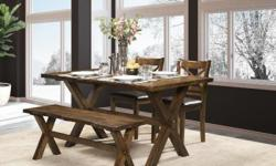 """Beautiful """"Live Edge Design"""" dining set made with solid hardwood. Various combinations available. Dining table (59"""" X 35"""") with 2 chairs and bench, or dining table with 4 chairs for $999. Dining table priced separately is $599. Brand new with warranty."""