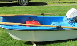 Livingston Dinghy, 7 ft., includes 5 hp Evinrude Angler motor and comes with fuel tank, fuel line, and oars. Great for lake fishing or as a boat tender. All in excellent condition and ready to start fishing! $850