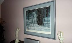 """Anyone interested in a wolf print by a renowned artist, signed by Liz Mitten Ryan this is one to be considered. It is #39/640. Name of print - """"White Magic"""". For more information - goggle this artist. Dimensions - of picture is 33"""" wide x 38"""" long. This"""