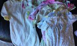 Lot of 6 and 9 month size baby girl clothing. Everything is in good condition, has been washed, and is from a smoke free home. The lot includes: - 8 onesies - 5 sleepers - 5 pairs of pants - 9 tops - 1 hoodie/jacket - 2 cotton dresses - 1 sleep sack - bag