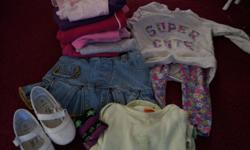 Lot includes: 1 x pair of dress shoes 4 x outfits 5 x onesies (one has a frilly skirt attached) 1 x jean skirt 11 x pants 2 x shirt