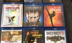 More movies for sale! $4 each - ask if interested in bulk purchase. Slumdog Millionaire - Blu-ray - SOLD District 9 - Blu-ray Leatherheads - Blu-ray- SOLD The Karate Kid - Blu-ray Gremlins - Blu-ray - SOLD Iron Man 2 - Blu-ray X-Men Wolverine - Blu-ray