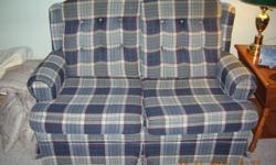 Colonial style Love seat and matching Arm Chair.  Extremely comfortable, clean & durable.  Suitable for family room or den.  Minor damage to edge at back.  Have purchased new.  Great price!!  Priced for quick sale!!
