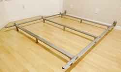 """Low Profile Metal Bed Frame - Queen - with headboard brackets - silver color - H4-7/8"""" , L73"""" - used, in good condition. Disassembled - easy to assemble, no tools required - $150 firm Meet at oakridge center for pickup only Delivery extra"""