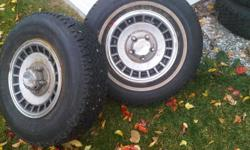I have four Wintermark Magna Grip tires on rims. The tires are approx 85% tread and two of them are studded excellent for a two wheel drive truck. The rims are for a late 80's and 90's 5 bolt ford truck. I am asking $650 obo
