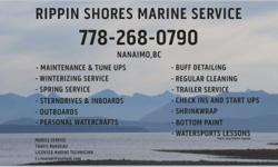 Rippin Shores Marine Service Mobile Services: Repairs and Installs - Engine Tune Ups and Boat Maintenance - Winterizing & Wrap- Spring Servicing - Buff/ Wax Detailing - Regular Cleanings - Trailer repairs - Check Ins, Start Ups and MORE. Outboards,