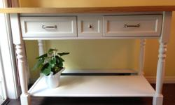 Island with 2 drawers - in very good condition. Works great as a stand-up desk too! Dimensions are: 52.5 inches wide, 36 inches high, 25 inches deep.