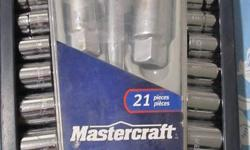 MASTERCRAFT 20 PIECE SOCKET SET WAS 21 PIECE ONE SOCKET MISSING . ALSO CHECK MY SELLERS LIST . PHONE ONLY
