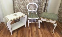 Cute vintage matching set including small bench seat with storage under seat, magazine table and waiting chair. Good vintage condition. Will include a second matching waiting chair that has recently had crossbars re-glued. Can sell items separately. Bench