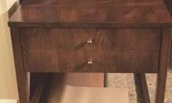 """All wood set in 80's modern era. Excellent condition. End table 21""""X 27"""" has large drawer. Coffee table 56"""" X 20"""". All polished up and ready for you."""