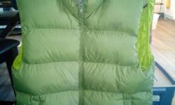 Size medium down filled vest from MEC, green. Barely worn.