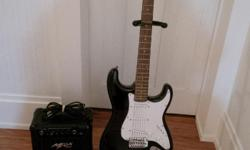 Mega Electric Guitar with accessories: case, strings, stand, amp.
