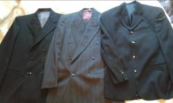 """I've got some nice black blazers and two grey pinstripe suits for sale. The jackets are mostly double-breasted, between 36"""" and 38"""" in the chest, and in a few different styles. I have some 6X1s, 6X2s, a 2X2, and even a 6X3 (meaning there are 6 buttons on"""