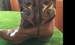 Lovely leather boots. Vintage but in decent shape. Inlaid leather with very interesting designs.