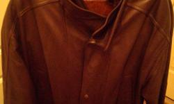 Men's Leather Coat, 45-46, XL, Dark Brown Good Condition