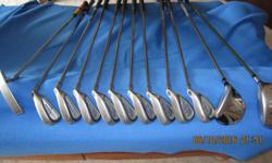 Callaway Steelhead irons: 3,4,5,6,7,8,9,A &P. - Ping Pal 4 putter - Taylormade r7 460 Driver (10.5) - Cobra 5 Fairway Wood Includes golf bag.