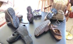 excellent condition. Wilson/Sketchers/Birks/Garmont See photo All in excellent like new condition, worn once most of them. See soles in photos. Quality Vibram on the Garment Hiking Boots size 8.5/9 $30, . Wilsons summer shoe size 9 wide $25,, Sketchers