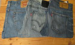 Varied selection of men's jeans and shorts for 34 waist. All gently used. Dropped a waist size shortly after buying and they no longer fit. PANTS: SOLD Levi's 516 Slim - 34/34 - Blue stonewash SOLD Levi's 511 Skinny - 34/34 - Light blue acid wash,