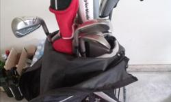 Golf clubs - full set and a bag and a golf cart is also included. Callaway Driver 9.5/ Rbz hybrid 19°, 22° / Rbz irons 5,6,7,8,9 / P / 52° / 56° / putter 3 years old.