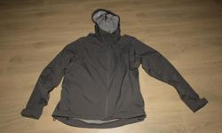Primarily designed for snowboarding, stretchy fabric, seam sealed, hooded, water resistant fabric, dimensions ......................pit to cuff 24 in,, collar to bottom back 28in, width across front 23 in, excellent condition.