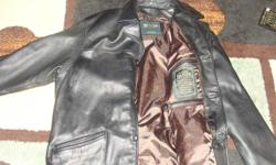 Mens black leather jacket from Danier.  It is in great condition.  Perfect style for dressing up or just going casual.  Size medium but fits more like a large.