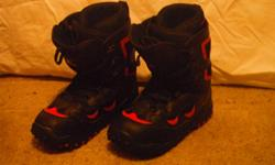These boots are Division23 size 10, black with red details. They were used once, and have been stored since. There is a tiny scuff mark on the right boot, other than that they are in really good condition.