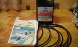 Mercruiser Clymer Book Stern Drive Manual 1986-1994 Alpha One, Bravo One, Two & Three Plus 6 belts in reasonable shape from Mercruiser 454, 7.4L Plus 4.7L jug of 25 W40 Sierra 4 stroke Marine Engine Oil, ¾ full