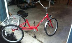 Miami Sun 3 wheeled adult bike for sale, with front brake and basket in the back. Large seat for extra comfort. Purchased new in Florida, used a couple of times.