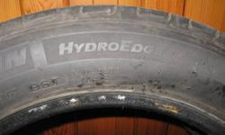 Selling two 17 inch Michelin HydroEdge tires.   Approximately 80% wear left.   Asking $145.00   For information or to view, please call 824-0201