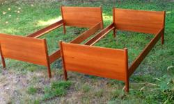 These are westnofa made in Norway twin beds. Mid sixties perfect condition . No scratches pet free smoke free clean like new.