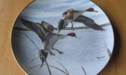 """from the collection entitled """"Ducks Taking Flight"""". An edition limited to 14 firing days. the Danbury Mint. $15 each or $100 for 9 plates"""