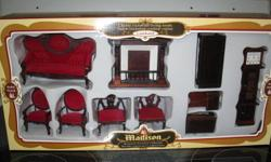 """Cherry Victorian Living room miniature furniture Solid wood, very well made, 10 pcs. clock 6"""" high."""