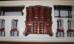 Victorian miniature dollhouse Dinningroom 7 pcs. set. Solid wood, draws pull out, must be seen. Still in box.