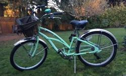 Like new. Bike is dusty in photos; only wear is a couple small scratches. Price includes everything on the bike (bell, basket, and fenders) except bike lock. Fenders are specially made for the bike and are quite costly on their own. Good for a young kid