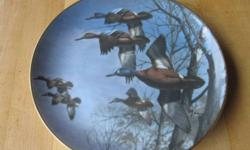 """from the collection entitled """"Ducks Taking Flight"""" An edition limited to 14 firing days. the Danbury Mint. $15 each or $100 for 9 plates"""