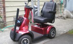 One year old Afiscooter with only about 15 miles usage. Has winter tread tires,new batteries. Maximum load 300 lbs. Range of 28 miles.