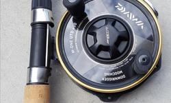 Used once as a spare. Daiwa M-ONE UT 400 REEL paired with a 9' sea king rod. Loaded with line. Perfect down rigger rod $100