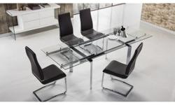 An international hostess chose this instantly extendable table which seats 6, 8, or 10 on upholstered soft black and white leather chairs. Perfect for gourmet celebrity dining or equally exciting international-business board member meetings. Mediterranean