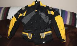 large yellow coat worn once and pants 200$ x-large Joe rocket black jacket 75$ x-large fieldsheer jacket 75$
