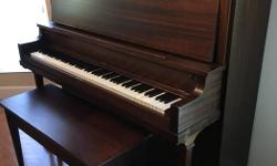 """Restored vintage upright piano with matching bench. No longer being played & will need tuning. Matching bench is 38"""" wide, 14"""" deep, 21""""high. $850 OBO"""