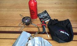 I used this stove only 3 times, IT'S LIKE NEW. The following included: stove fuel bottle(some fuel in it) pump widescreen manual bag Super lightweight and compact, excellent for backpacking HEre's more infor: