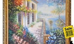 Museum quality hand-painted oil painting reproductions with wonderful frames. Brand new!! 1. Mediterranean Scenes 2. Blossoming Almond Tree(Vincent Van Gogh) 3. Cafe Terrace at Night(Vincent Van Gogh) 4. Golden Avenue 5. Water Lilies (Claude Monet) All