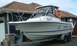 price reduced from $25500.00 too $22000.00 priced for quick sale, must sell due too health reasons  1999 trophy 2052 custom hard top with new curtains,4.3 mercruiser  low hours with alpha one leg and stainless prop,honda 9.9 hp,power trim electric start